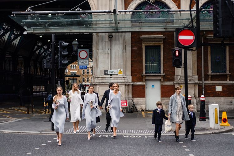 Bride & Bridesmaids in Pleats Please Issey Miyak Dresses | Chic London Wedding at St Bartholomew the Great Church & St John Bar & Restaurant | Helen Abraham Photography