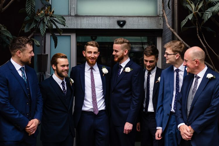 Groomsmen in Suits by Beggars Run | Chic London Wedding at St Bartholomew the Great Church & St John Bar & Restaurant | Helen Abraham Photography
