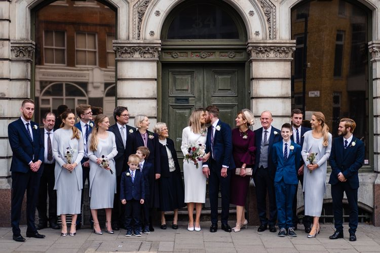 Wedding Party | Bride & Bridesmaids in Pleats Please Issey Miyak Dresses | Chic London Wedding at St Bartholomew the Great Church & St John Bar & Restaurant | Helen Abraham Photography