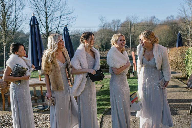 Bridesmaids in ASOS Sparkly Dresses & Fur Stoles   Jacqui McSweeney Photography   KiteBox Films