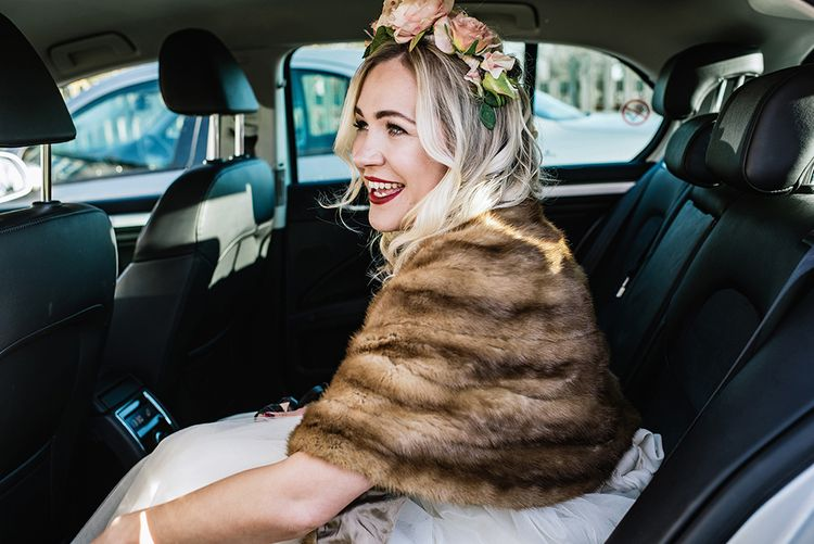 Bride in Halfpenny London Bridal Separates, Full Stole & Flower Crown   Jacqui McSweeney Photography   KiteBox Films