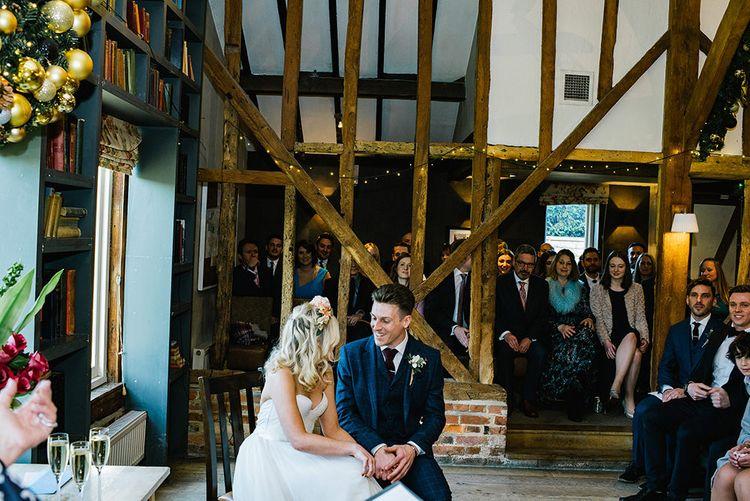 Wedding Ceremony   Bride in Halfpenny London Bridal Separates   Groom in Pendulum Menswear Suit   Jacqui McSweeney Photography   KiteBox Films