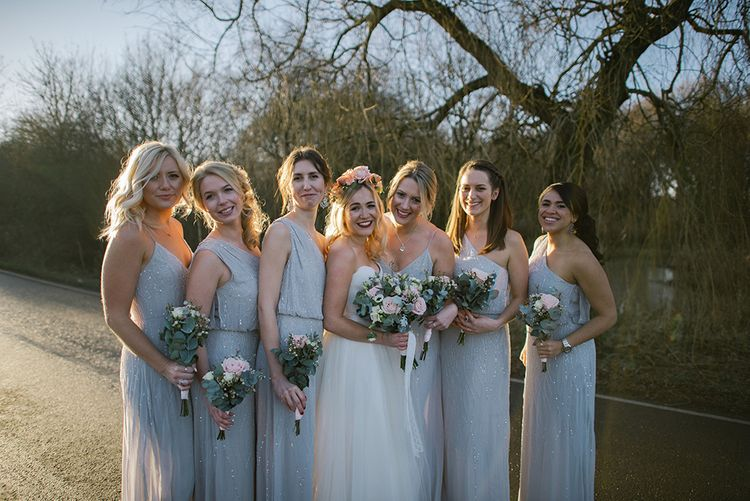 Bride in Halfpenny London Bridal Separates   Bridesmaids in ASOS Sparkly Dresses & Fur Stoles   Jacqui McSweeney Photography   KiteBox Films