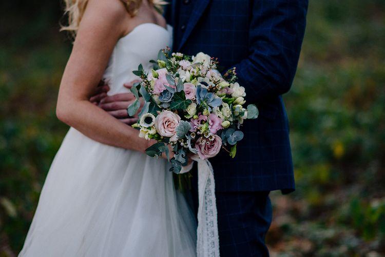 Pastel Wedding Bouquet   Bride in Halfpenny London Bridal Separates   Jacqui McSweeney Photography   KiteBox Films