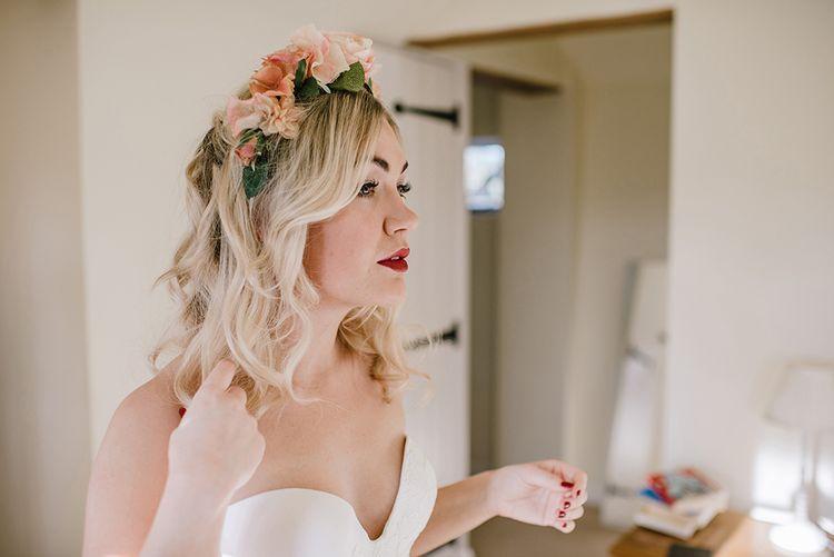 Bride in Halfpenny London Bridal Separates & Flower Crown   Jacqui McSweeney Photography   KiteBox Films