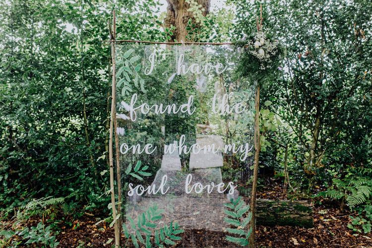 Perspex Wedding Sign | Stylish Woodland Wedding in Cheshire | Clara Cooper Photography | Story Board Weddings Films