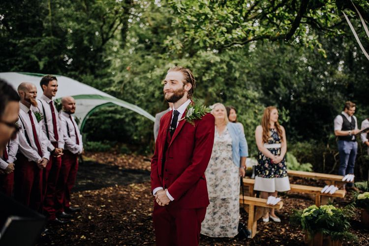 Outdoor Wedding Ceremony | Groom in Bespoke Burgundy Suit | Stylish Woodland Wedding in Cheshire | Clara Cooper Photography | Story Board Weddings Films