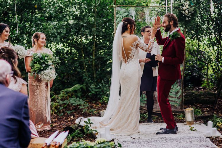 Outdoor Wedding Ceremony | Bride in Rosa Clara Naim Bridal Gown | Groom in Bespoke Burgundy Suit | Stylish Woodland Wedding in Cheshire | Clara Cooper Photography | Story Board Weddings Films