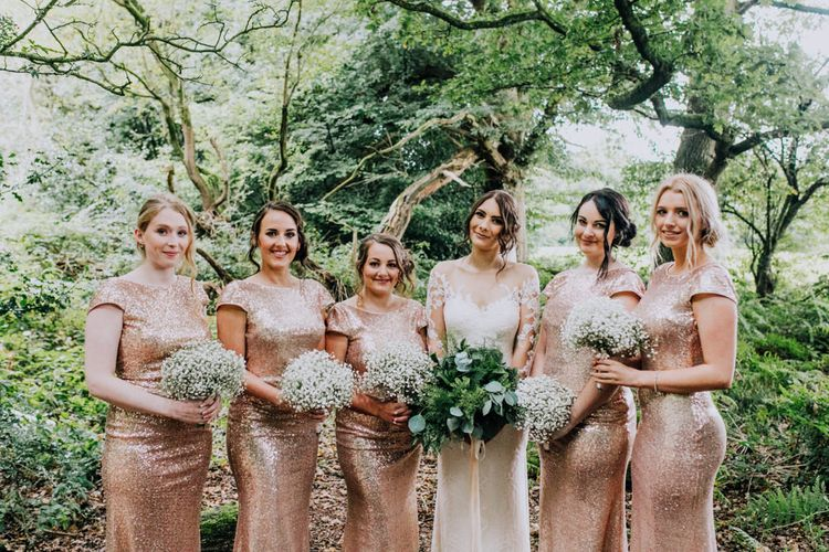 Bridesmaids in Gold Sequin Gowns | Bride in Rosa Clara Naim Bridal Gown | Stylish Woodland Wedding in Cheshire | Clara Cooper Photography | Story Board Weddings Films