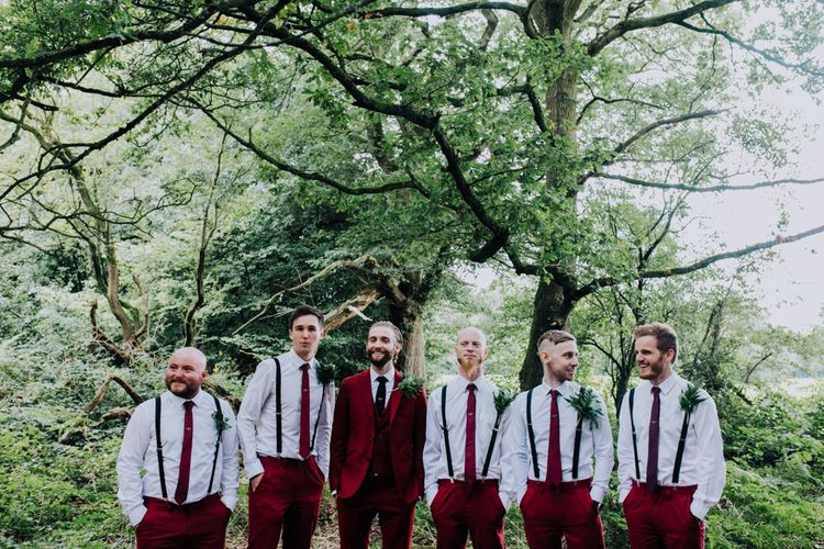Groom in Bespoke Burgundy Suit | Stylish Woodland Wedding in Cheshire | Clara Cooper Photography | Story Board Weddings Films
