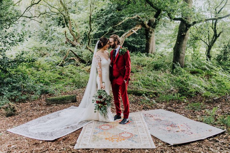 Bride in Rosa Clara Naim Bridal Gown | Groom in Bespoke Burgundy Suit | Stylish Woodland Wedding in Cheshire | Clara Cooper Photography | Story Board Weddings Films