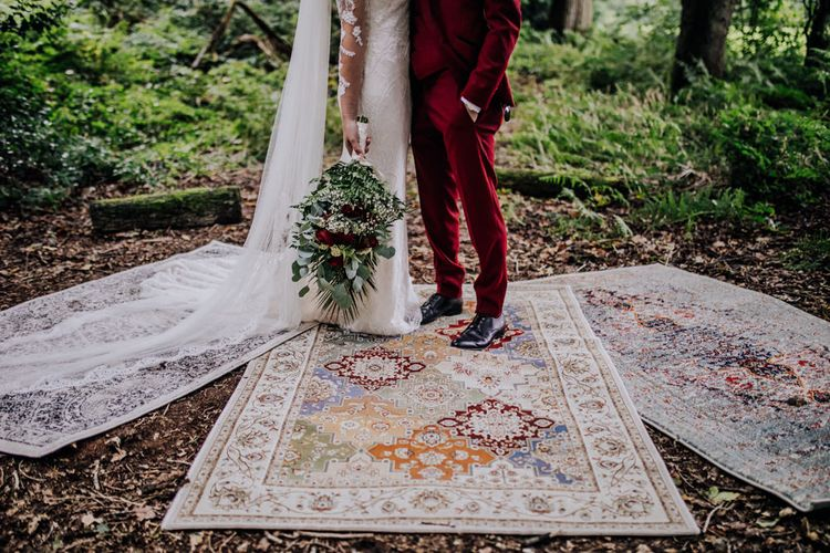 Persian Rugs | Bride in Rosa Clara Naim Bridal Gown | Groom in Bespoke Burgundy Suit | Stylish Woodland Wedding in Cheshire | Clara Cooper Photography | Story Board Weddings Films