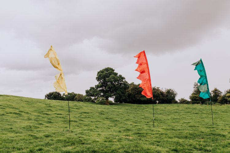 Festival Flags | Stylish Woodland Wedding in Cheshire | Clara Cooper Photography | Story Board Weddings Films