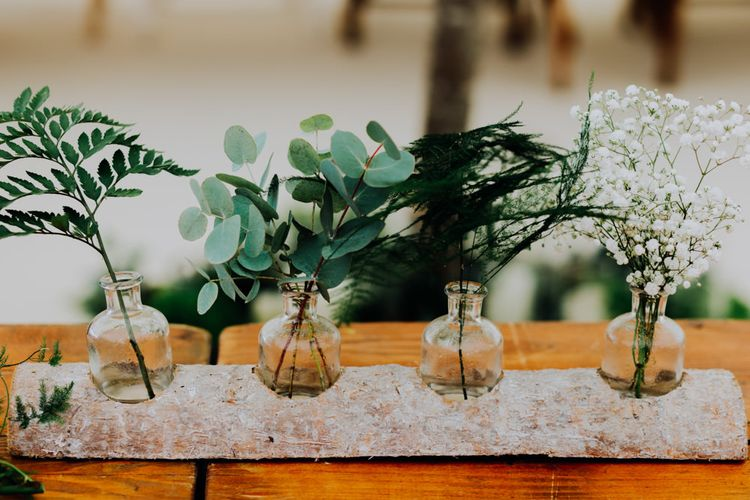 Foliage in Jars Wedding Decor | Stylish Woodland Wedding in Cheshire | Clara Cooper Photography | Story Board Weddings Films