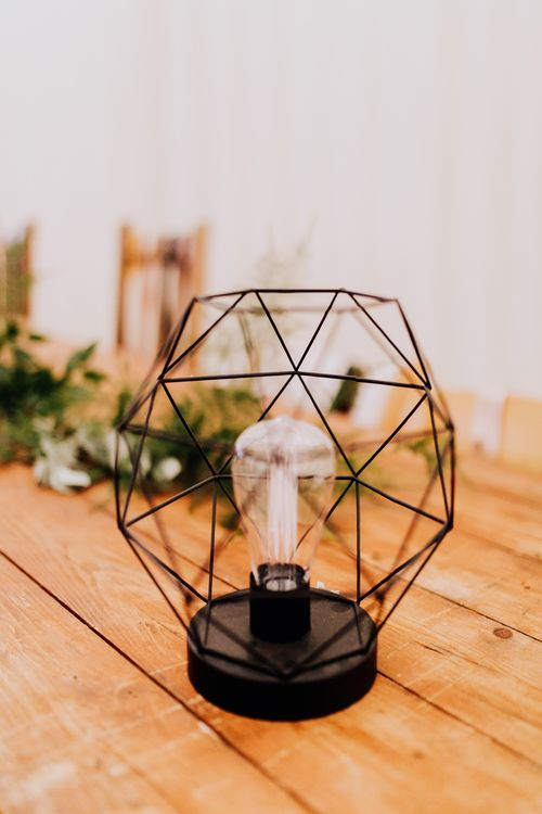 Geometric Light Wedding Decor | Stylish Woodland Wedding in Cheshire | Clara Cooper Photography | Story Board Weddings Films