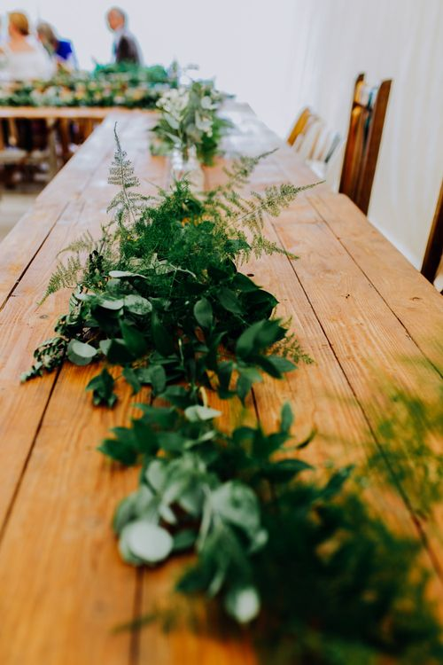Greenery Table Runner | Stylish Woodland Wedding in Cheshire | Clara Cooper Photography | Story Board Weddings Films