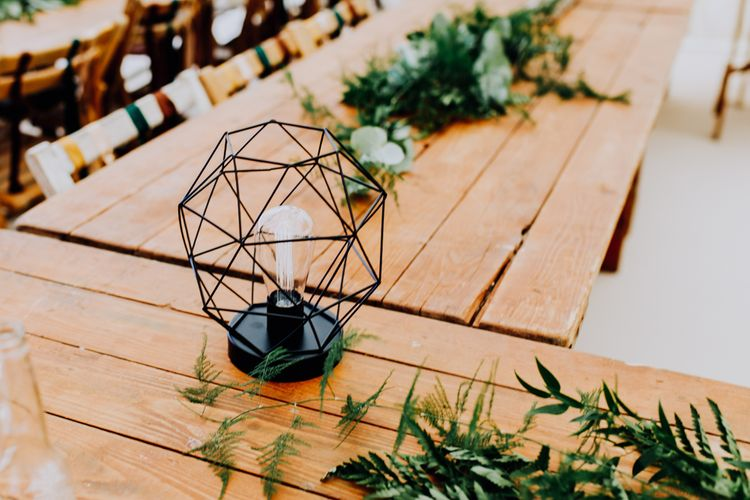 Geometric Light Table Decor | Stylish Woodland Wedding in Cheshire | Clara Cooper Photography | Story Board Weddings Films