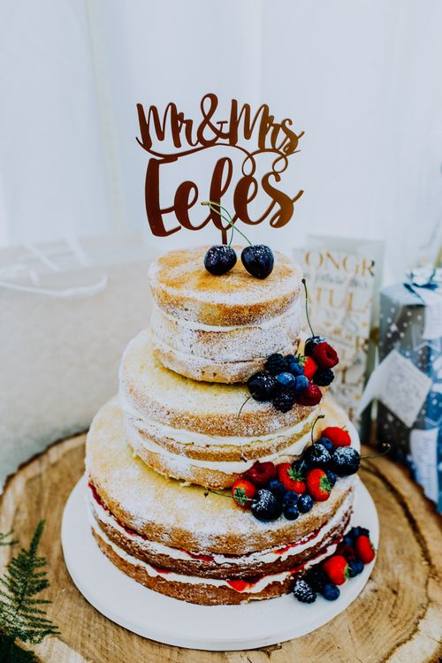 Naked Wedding Cake with Fruit Decor | Stylish Woodland Wedding in Cheshire | Clara Cooper Photography | Story Board Weddings Films