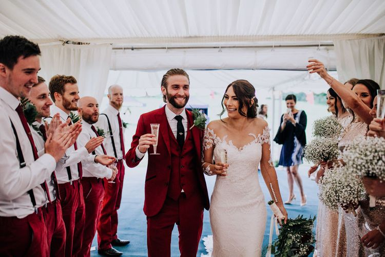 Marquee Reception | Bride in Rosa Clara Naim Bridal Gown | Groom in Bespoke Burgundy Suit | Stylish Woodland Wedding in Cheshire | Clara Cooper Photography | Story Board Weddings Films
