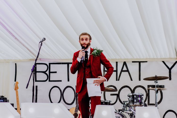 Speeches | Groom in Bespoke Burgundy Suit | Stylish Woodland Wedding in Cheshire | Clara Cooper Photography | Story Board Weddings Films