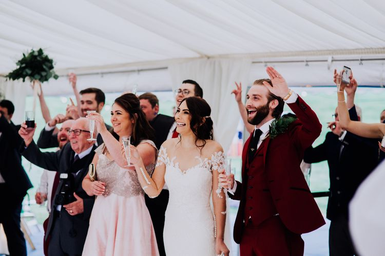 Speeches | Bride in Rosa Clara Naim Bridal Gown | Groom in Bespoke Burgundy Suit | Stylish Woodland Wedding in Cheshire | Clara Cooper Photography | Story Board Weddings Films