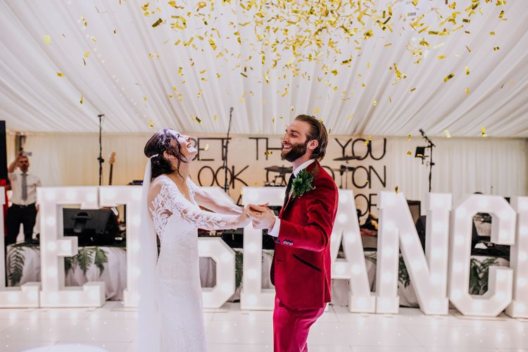 First Dance | Bride in Rosa Clara Naim Bridal Gown | Groom in Bespoke Burgundy Suit | Stylish Woodland Wedding in Cheshire | Clara Cooper Photography | Story Board Weddings Films