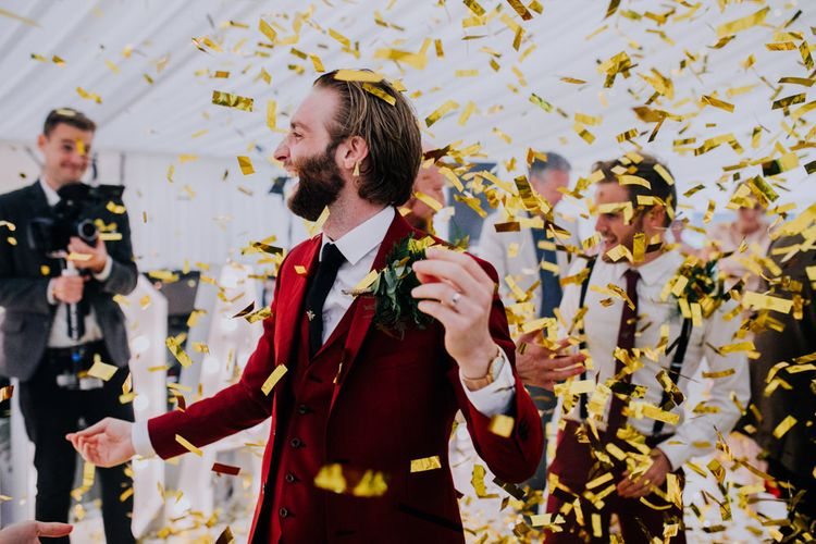 Confetti Canon | Bride in Rosa Clara Naim Bridal Gown | Groom in Bespoke Burgundy Suit | Stylish Woodland Wedding in Cheshire | Clara Cooper Photography | Story Board Weddings Films