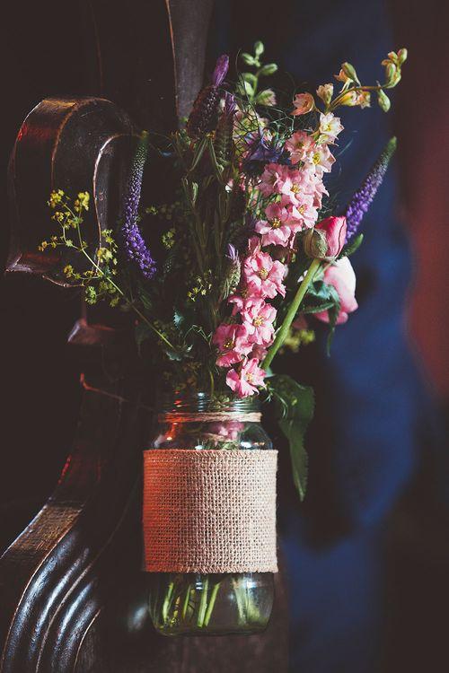 Jam Jar Wedding Flowers Church Aisles