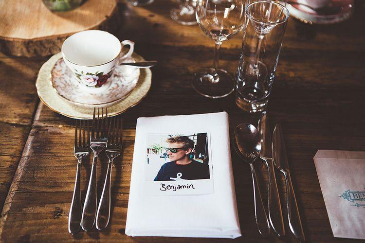 Polaroid Place Setting Wedding Details