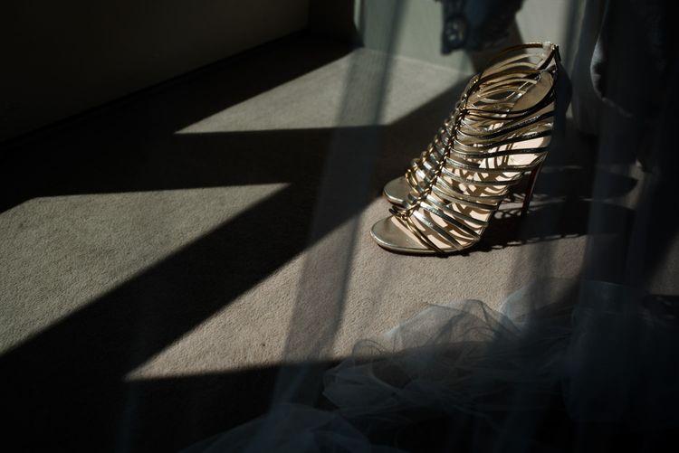 Metallic Louboutin Sandals Wedding Shoe