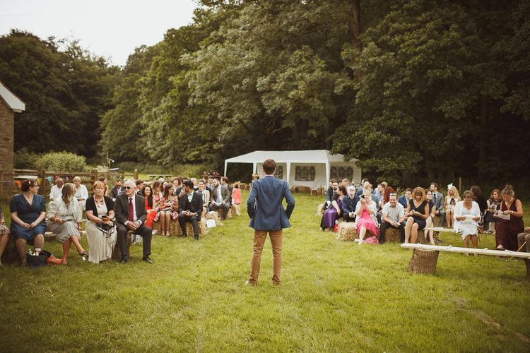 Hay Bale Seating For An Outdoor Wedding Ceremony