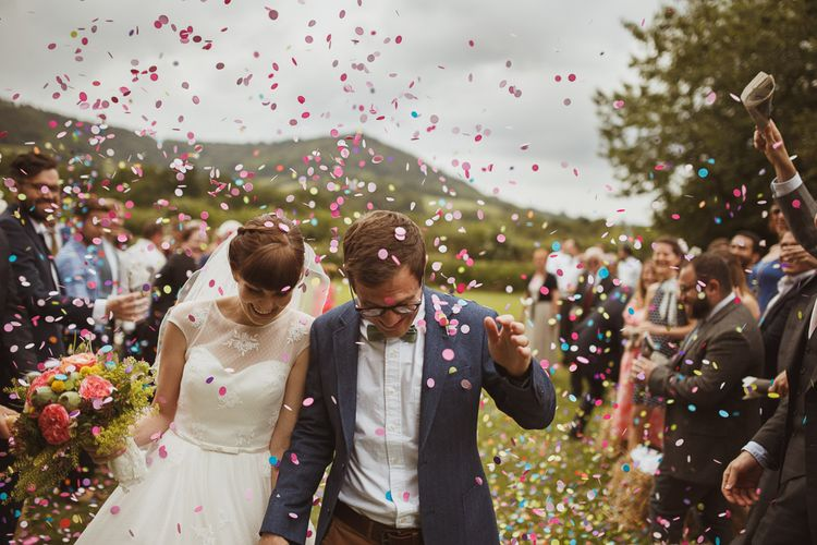 Confetti Shot Bride & Groom