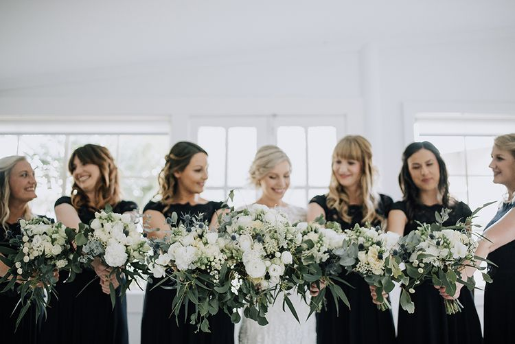 Bridal Party Bouquets | Sophisticated White & Green Colour Scheme for an Outdoor Australian Wedding at Summer Grove | Photography & Film by Mad Rose Films