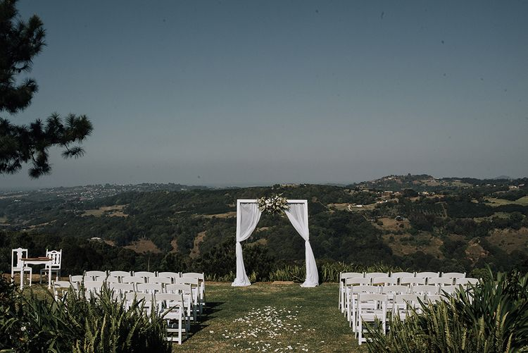 Outdoor Altar | Sophisticated White & Green Colour Scheme for an Outdoor Australian Wedding at Summer Grove | Photography & Film by Mad Rose Films