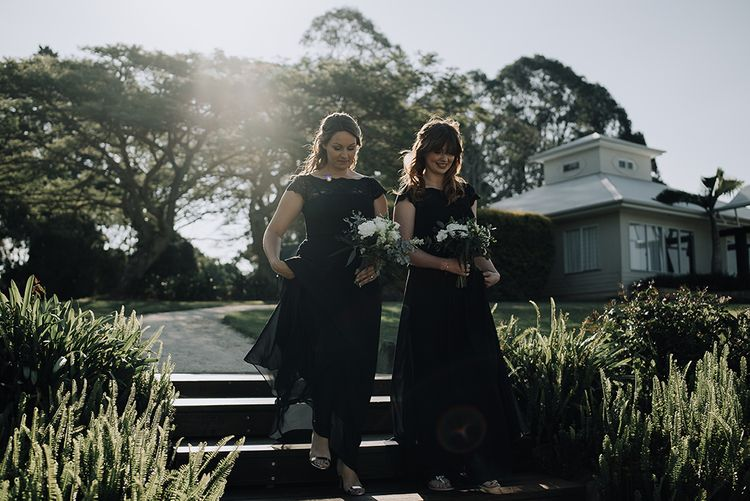 Bridesmaids in Navy Gowns | Sophisticated White & Green Colour Scheme for an Outdoor Australian Wedding at Summer Grove | Photography & Film by Mad Rose Films