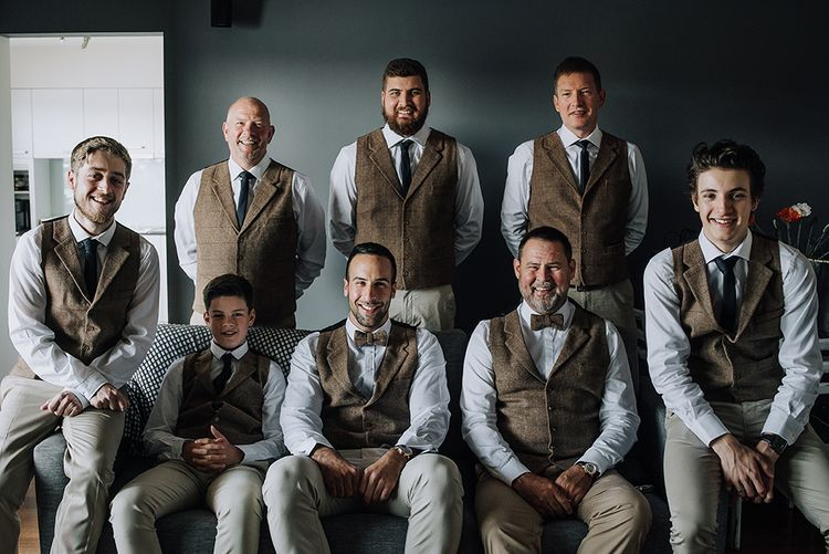 Groomsmen in Tweed Waistcoats | Sophisticated White & Green Colour Scheme for an Outdoor Australian Wedding at Summer Grove | Photography & Film by Mad Rose Films