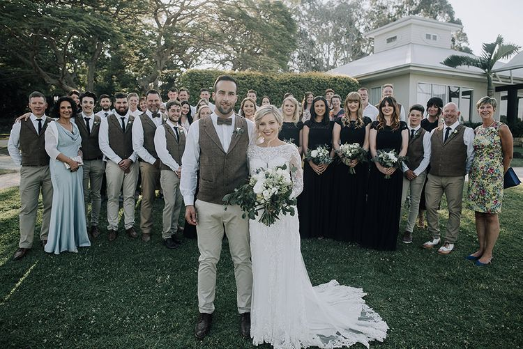 Bride in Lace Dress | Groom in Tweed Waistcoat & Chino's | Sophisticated White & Green Colour Scheme for an Outdoor Australian Wedding at Summer Grove | Photography & Film by Mad Rose Films