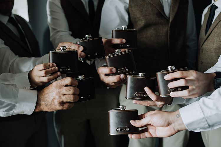 Hip Flasks | Sophisticated White & Green Colour Scheme for an Outdoor Australian Wedding at Summer Grove | Photography & Film by Mad Rose Films