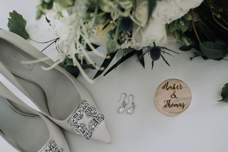 Dune Bridal Shoes & Wooden Ring Box | Sophisticated White & Green Colour Scheme for an Outdoor Australian Wedding at Summer Grove | Photography & Film by Mad Rose Films