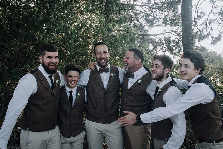Groomsmen in Tweed | Sophisticated White & Green Colour Scheme for an Outdoor Australian Wedding at Summer Grove | Photography & Film by Mad Rose Films
