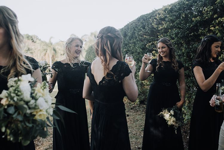 Bridesmaids in Navy Dresses | Sophisticated White & Green Colour Scheme for an Outdoor Australian Wedding at Summer Grove | Photography & Film by Mad Rose Films
