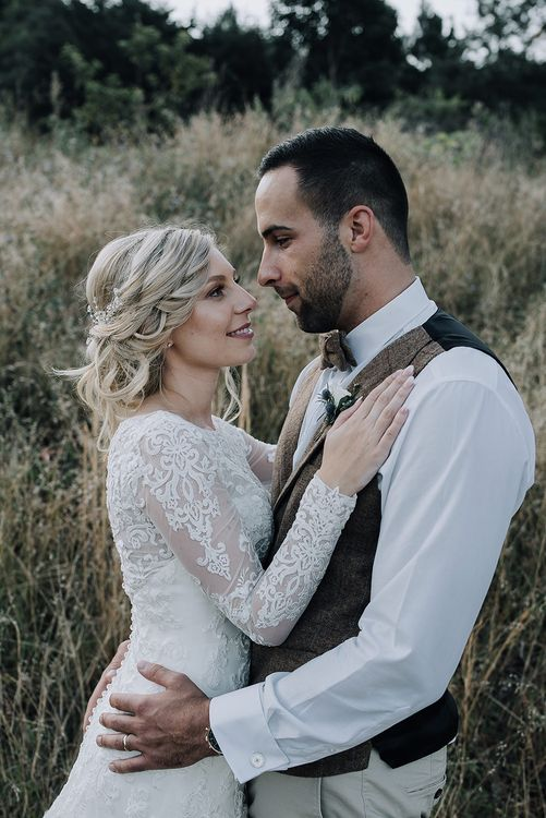Bride in Lace Dress & Groom in Tweed Waistcoat | Sophisticated White & Green Colour Scheme for an Outdoor Australian Wedding at Summer Grove | Photography & Film by Mad Rose Films