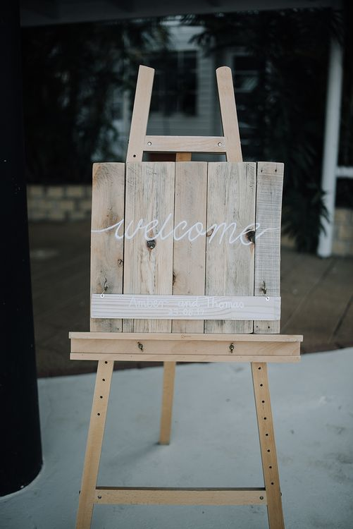 Wooden Welcome Sign | Sophisticated White & Green Colour Scheme for an Outdoor Australian Wedding at Summer Grove | Photography & Film by Mad Rose Films