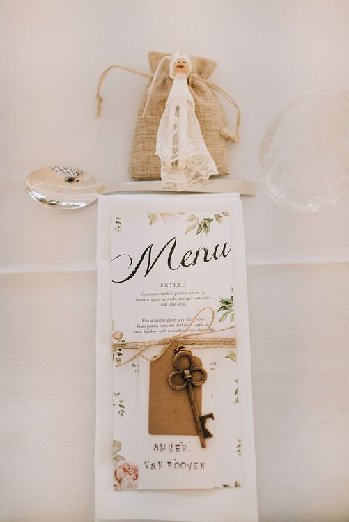 Menu Place Setting | Sophisticated White & Green Colour Scheme for an Outdoor Australian Wedding at Summer Grove | Photography & Film by Mad Rose Films