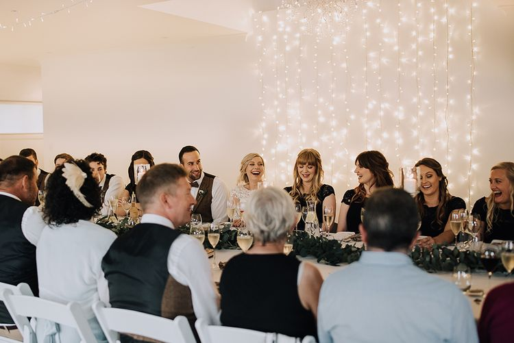 Fairy Light Reception | Sophisticated White & Green Colour Scheme for an Outdoor Australian Wedding at Summer Grove | Photography & Film by Mad Rose Films