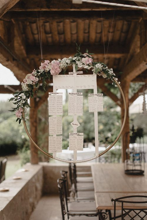 Table Plan In Floral Hoop