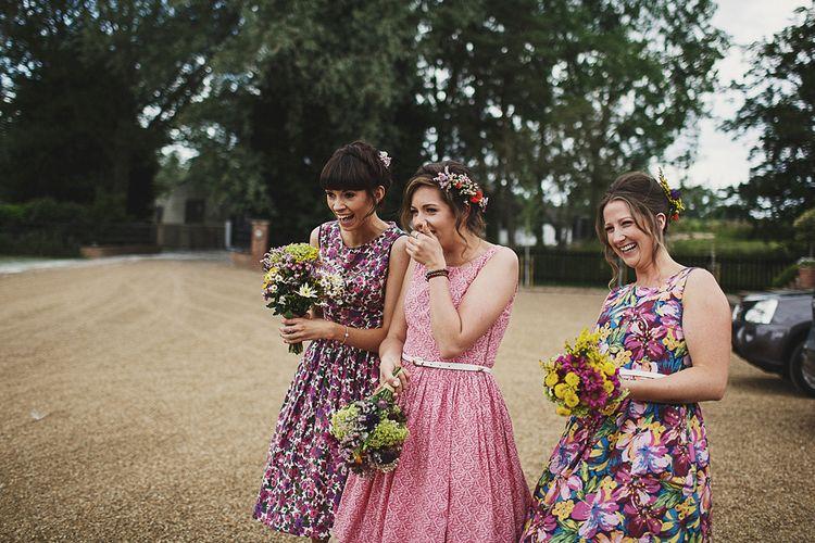 Vintage Ditsy Print Bridesmaid Dresses