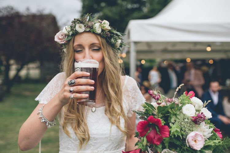 Bride Drinking Real Ale