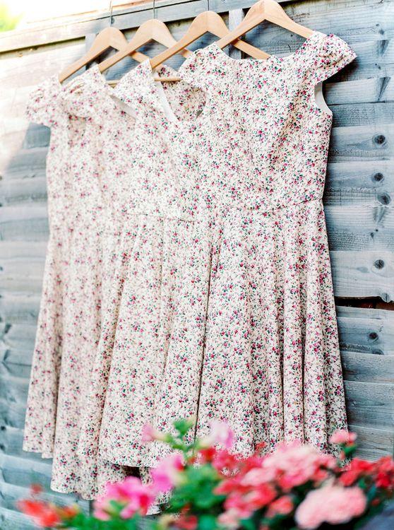 Custom Made Floral Bridesmaid Dresses