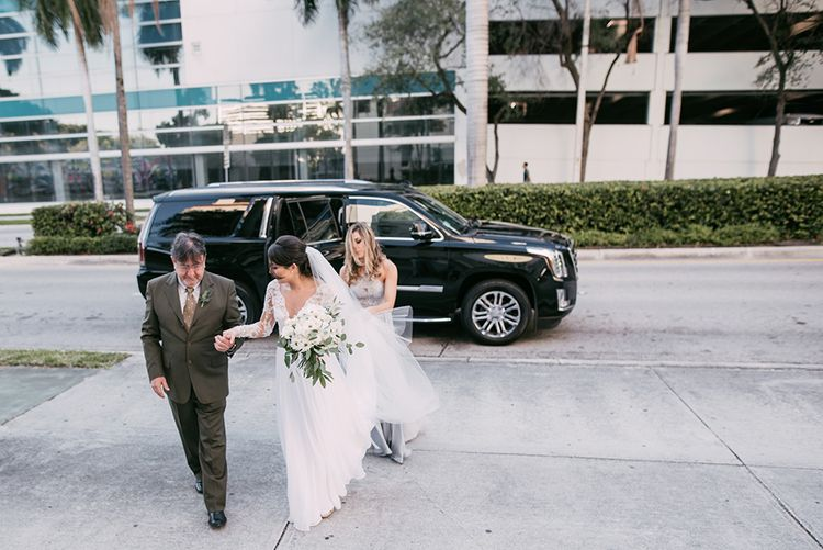 Bride in Lace Anne Barge Wedding Dress | Stylish Wedding at the M Building in the Miami Art District | Sara Lobla Photography